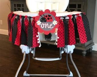 Ladybug High Chair Birthday Banner