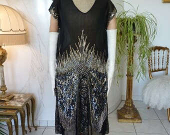 RESERVED 1928 Exquisite Beaded Flapper Dress, Antique Dress, Charleston Dress, 1920, 1920s, 20s, ca. 1928