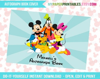 Printable Autograph Book Cover EDITABLE Diy Personalize INSTANT DOWNLOAD Disney World Disney Cruise Disney Printables Disney Signature Book