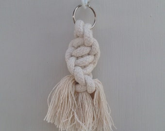 Chunky half square knot spiral macrame knot keyring made with 100% cotton