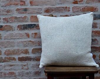 Cotton Knit Pillowcase, Rustic Handmade Cotton Pillow, Eco Cushion, Burlap Knit Cushion, Rustic Yute Throw Pillow