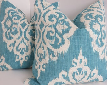 Aqua Blue Ivory Ikat Pillow Covers- Aqua Pillow Covers - Pillow Cover- Ivory Pillow covers- 18x18- 20x20- Aqua Blue Pillows