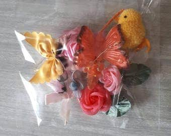 Vintage Spring or Easter Flowers Butterflies and Chick