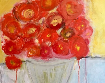 Original Abstract Floral Painting on canvas, home decor, modern