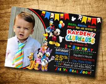 Mickey Mouse Clubhouse Birthday Invitation, Mickey Mouse Invitation Birthday Party, Mickey Mouse Party Invitations, Mickey Party Invitations