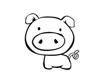 Cute Pig Vinyl Decal, Cute Pig Laptop/Car Sticker