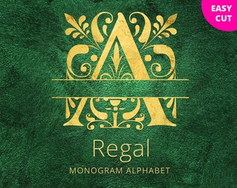Regal Split Monogram font SVG cut files Regal Letters, Floral alphabet svg, swirls split svg initials for Cricut Silhouette cuttable font
