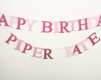Custom Personalised Name Garland/Banner/Happy Birthday Banner/Happy Birthday Sign/Birthday Banner/Birthday Sign/Glitter Birthday Banner