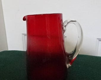 Vintage Cranberry Glass Jug/Pitcher