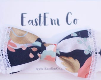 Floral Bow - Floral Headband - Baby Bow - Baby Headband