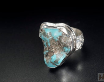 Natural American Blue Turquoise Sterling silver ring Raw Stone Jewelry December birthstone unique Large free-form  Size 7.5 for men & women
