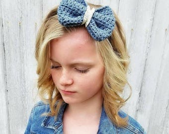 Cotton and Lace Crochet Bow Headband / Custom Bow Headband / Crochet Bow / Crochet Bow Headband / Baby Accesory / Toddler Accessory / Baby