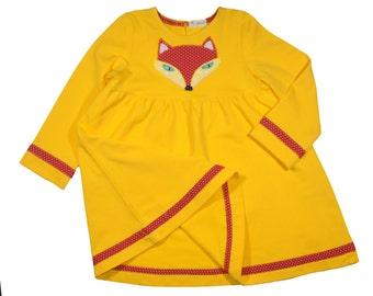 Fox dress•Girl Dress• Dress Long Sleeve•Yellow Long Sleeve Dress•Sweatshirt Dress • Toddler Dress • Girls' Clothing • Birthday Dress