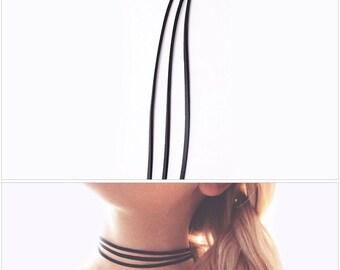 3pc layered black leather boho choker necklace