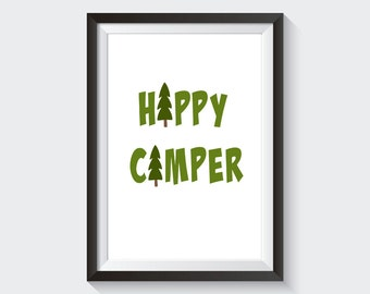 On Sale! Happy Camper Outdoors Camping Printable Wall Art Digital Download