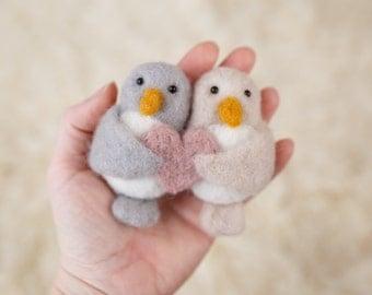 Felted Love birds, newborn twins photography prop