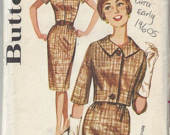1960s Vintage Sewing Pattern B38 Dress & Jacket (1806) Butterick 2181 - As seen on the TV Series SEWING BEE