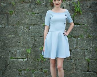 polyester pastel blue Halter dress
