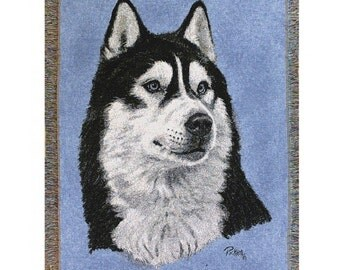 Personalized Siberian Husky Dog Throw Blanket