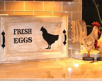 Rustic, Antiqued Fresh Eggs Tray