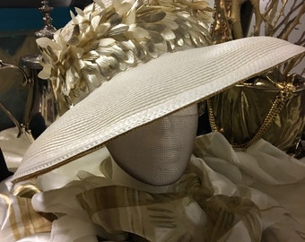 Cream Hat with Gold and Cream details