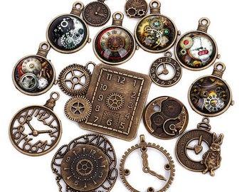 15Pcs VINTAGE metal CLOCK charms/pendants - 5 different styles