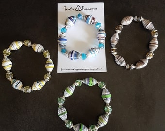 Paper Bead Stretchy Bracelet, Recycled, Upcycled, Eco-friendly, One of a Kind Gift, Trash to Treasure
