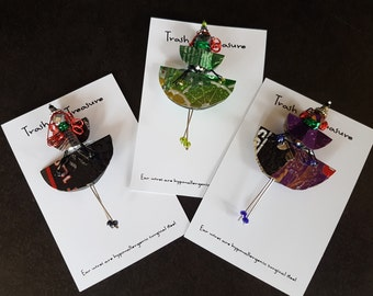 Aluminum Can People Pins, Recycled, Upcycled, Eco-friendly, One of a Kind Gift, Trash to Treasure