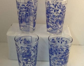 Blue Willow Glasses ~ Set of 4