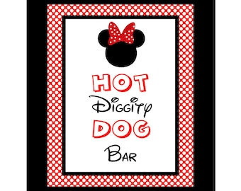 INSTANT DOWNLOAD Hot Diggity Dog Bar 8x10 Sign Minnie Mouse Birthday