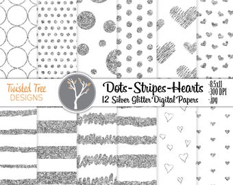 12 Silver Glitter Digital Papers 8.5x11 Stripes, Dots, Hearts, for DIY projects, Blogs, Invitations, Small Business use.