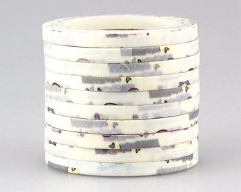Washi tape 4 mm 10 m 1 piece white with vintage-style décor (Number 7)