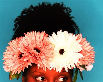 Pink Flower Crown, Flower Power Crown, Pink Flower Headband, Tropical Headband, Flower Hair Accessories, Hippie Flower Crown,Snapchat Flower