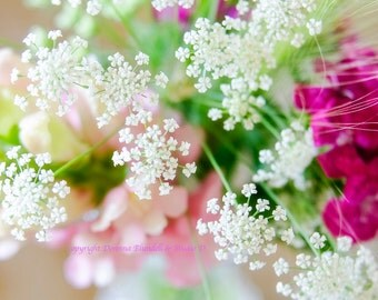 Summer Bouquet Pinks and White. Fine Art Print.  Varying Sizes.