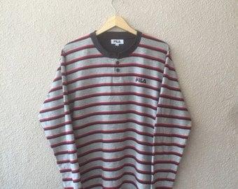 Vintage Stripe Fila Long Sleeve / Jumper / Sweatshirts
