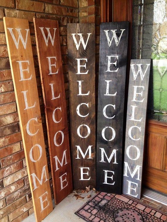 Welcome sign rustic wood welcome sign front door welcome - Rustic housesbedrooms cosy welcoming ...
