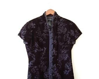 Vintage Black Velvet Floral Burnout Mandarin Collar Cheongsam Long Formal Dress - Romantic