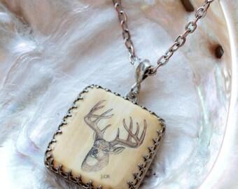 Vintage Deer Antler Engraved Sterling Silver Pendant Necklace