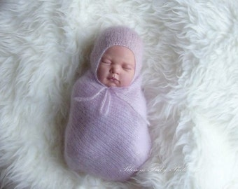 Mohair baby Wrap and Bonnet set, Baby Photography Prop, newborn photo prop, Baby wrap with Stars