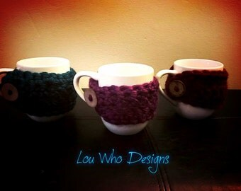 Mug Cozy With A Button, Adjustable Crochet Cozy With A Mug, Adjustable Mug Warmer, Crochet Mug Wrap With A Button