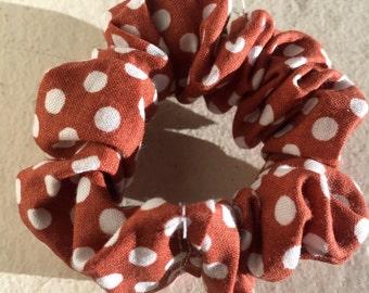 Brown & White Polka Dot Scrunchie