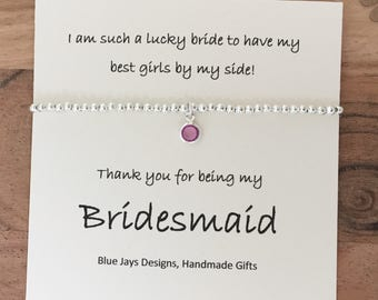 Bridesmaid Bracelet, Thank You Gift, Delicate Bracelet, Thank You For Being Our Bridesmaid, Wedding Party Gift, Bridesmaid Jewellery