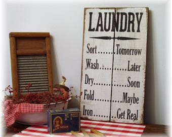LAUNDRY RULES fixer upper style rustic farmhouse wood sign