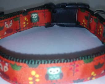 woodland creatures dog collar