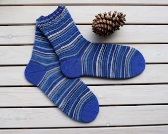 Men's wool socks Hand knitted socks Striped boot socks Casual wool socks Warm men accessories Gift for him