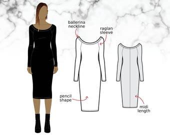 XS-XL Midi bodycon dress with ballerina neckline (PDF sewing pattern for jersey)