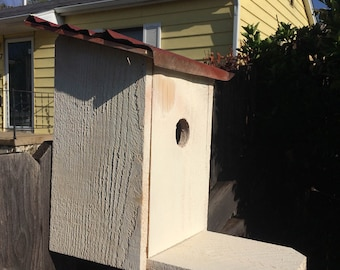 Reclaimed Cedar Birdhouse with Tin Roof