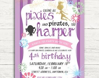Pixies and Pirates Birthday Invitation