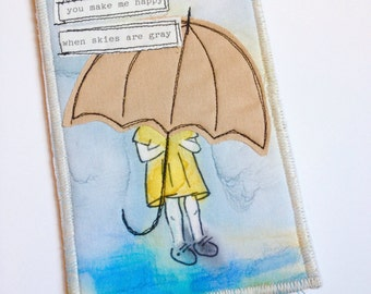 Girl with Umbrella Card - Fabric Postcard - Postcard - Sewing Gifts - Mixed Media Card - Quilter Gift - Unique Stationery - Designer Cards