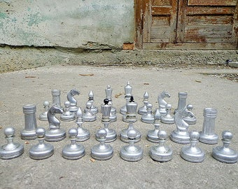 Duralumin soviet chess pieces // vintage metal hard unbreakable chessmen USSR // Metal chess set